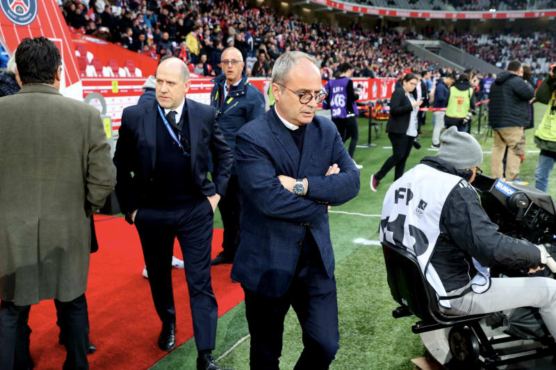 LILLE, FRANCE - APRIL 14:  Antero Henrique of Paris Saint-Germain react with Luis Campos of Lille LOSC before the Ligue 1 match between Lille OSC and Paris Saint-Germain (PSG) at Stade Pierre Mauroy on April 14, 2019 in Lille, France.  (Photo by Xavier La