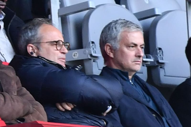 Lille's general manager Marc Ingla (front L) and Lille's Portuguese sports director Luis Campos (front 2L) sits next to former Manchester United manager Jose Mourinho (front 2R) as they watch the French L1 football match Lille (LOSC) vs Montpellier (MHSC)