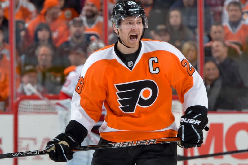 PHILADELPHIA, PA - FEBRUARY 09: Claude Giroux #28 of the Philadelphia Flyers yells during the game against the Carolina Hurricanes at the Wells Fargo Center on February 9, 2013 in Philadelphia, Pennsylvania. (Photo by Drew Hallowell/Getty Images)
