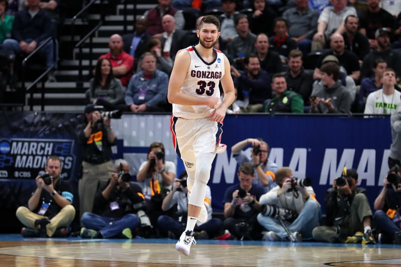 SALT LAKE CITY, UTAH - MARCH 21: Killian Tillie #33 of the Gonzaga Bulldogs celebrates his dunk against the Fairleigh Dickinson Knights during the second half in the first round of the 2019 NCAA Men's Basketball Tournament at Vivint Smart Home Arena on March 21, 2019 in Salt Lake City, Utah. (Photo by Tom Pennington/Getty Images)