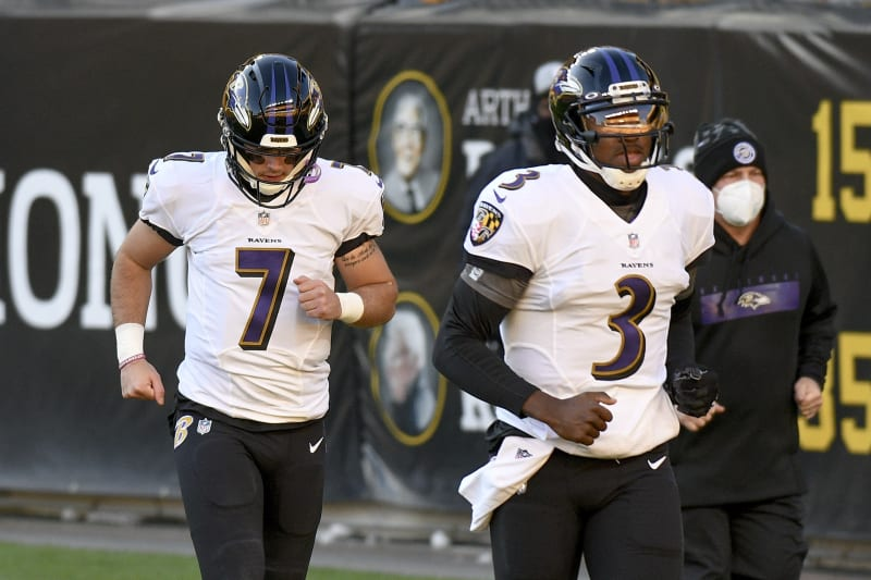 Baltimore Ravens quarterbacks Robert Griffin III (3) and Trace McSorley come out to warm up before an NFL football game against the Pittsburgh Steelers, Wednesday, Dec. 2, 2020, in Pittsburgh. (AP Photo/Don Wright)