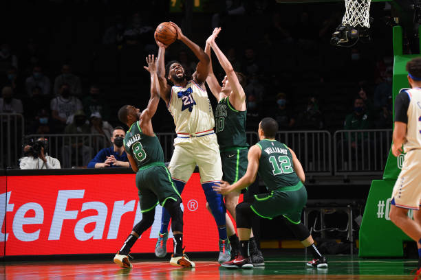 Joel Embid led the charge for the win against the Celtics.