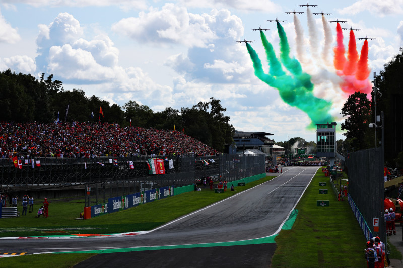 MONZA, ITALY - SEPTEMBER 08: An aeronautical display is seen before the F1 Grand Prix of Italy at Autodromo di Monza on September 08, 2019 in Monza, Italy. (Photo by Dan Istitene/Getty Images)