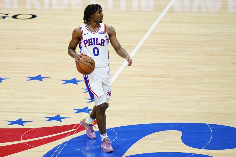 Philadelphia 76ers' Tyrese Maxey plays during an NBA basketball game against the Atlanta Hawks, Wednesday, April 28, 2021, in Philadelphia. (AP Photo/Matt Slocum)