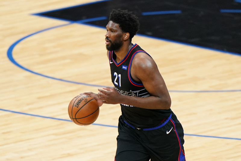 Philadelphia 76ers' Joel Embiid plays during Game 1 of a first-round NBA basketball playoff series against the Washington Wizards, Sunday, May 23, 2021, in Philadelphia. (AP Photo/Matt Slocum)