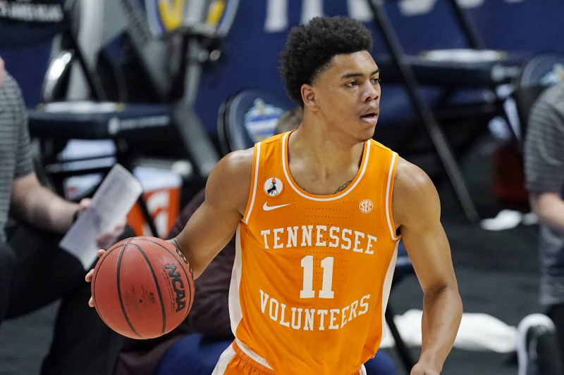 Tennessee's Jaden Springer plays against Alabama during the NCAA college basketball Southeastern Conference Tournament Saturday, March 13, 2021, in Nashville, Tenn. (AP Photo/Mark Humphrey)